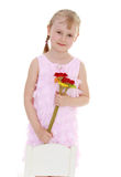 Young girl with a bouquet of flowers Royalty Free Stock Photo