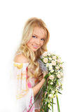 Young girl with a bouquet of roses Royalty Free Stock Photography