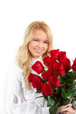 Young girl with a bouquet of roses Royalty Free Stock Images