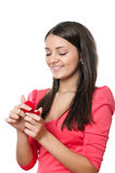 Young girl with a box for jewelry in hands Stock Photography