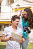 A young girl and boy of the beautiful city. Relax in the historic city. Joy and sincere feelings of young people. Professional makeup. Photos for magazines Royalty Free Stock Photo