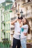 A young girl and boy of the beautiful city Royalty Free Stock Photo