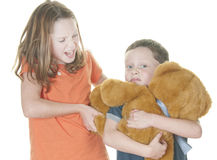 Young girl and boy fighting over bear Royalty Free Stock Images
