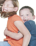 Young girl and boy playing royalty free stock photo