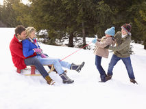 Young Girl And Boy Pulling Parents Through Snow On. Sled laughing to each other Stock Image