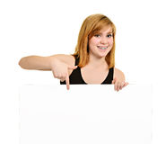 Young girl with brackets and billboard Stock Photo