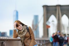 Young girl on Brooklyn Bridge Royalty Free Stock Photos