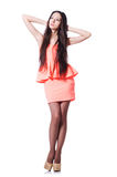 Young girl with brown hairs in short dress Stock Photo