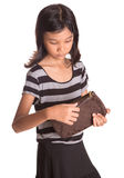 Young Girl With Brown Purse II Royalty Free Stock Images