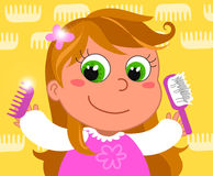 Young girl with brush stock illustration