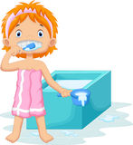 Young girl brushing teeth Royalty Free Stock Photography