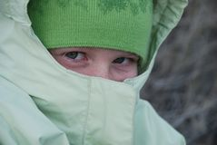 Young girl bundled against the cold Royalty Free Stock Photography
