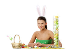 Young girl with bunny ears Stock Photo
