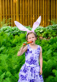 Young Girl in Bunny Ears Taking a Bite of a Carrot Stock Photography