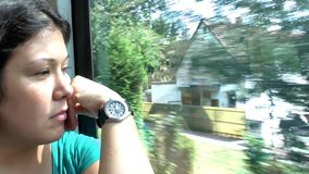 Young girl in bus. Video stock video footage