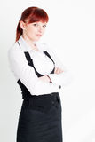 Young girl in business clothes. On a white background stock photography