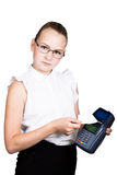 Young girl in a business suit, offers e-card to pay for purchases Stock Photos