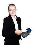 Young girl in a business suit, offers e-card to pay for purchases Stock Photo