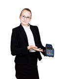 Young girl in a business suit, offers e-card to pay for purchases Stock Photography