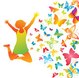 Young Girl With Butterflies. Royalty Free Stock Photo