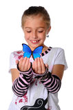 Young Girl With Butterfly Stock Photos
