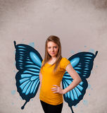 Young girl with butterfly blue illustration on the back Stock Photos