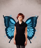 Young girl with butterfly blue illustration on the back Royalty Free Stock Images