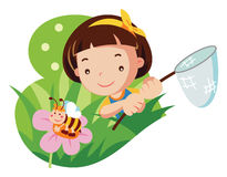Young girl with butterfly net. Cartoon vector illustration Stock Photos