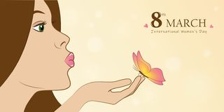 Young girl with butterfly womans day 8th march greeting card vector illustration