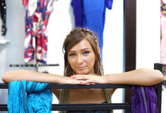 Young Girl Buying Clothes Royalty Free Stock Images