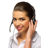 Young girl call center operator Royalty Free Stock Photography