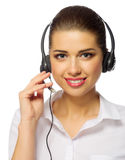 Young girl call center worker Royalty Free Stock Photos