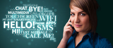 Young girl calling by phone with word cloud Royalty Free Stock Images