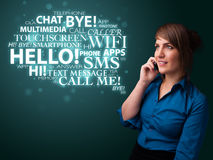 Young girl calling by phone with word cloud Royalty Free Stock Photos