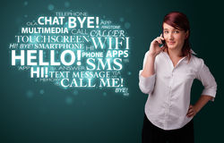 Young girl calling by phone with word cloud Stock Images
