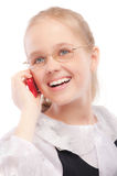 Young girl calls by phone Stock Photo