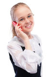 Young girl calls by phone Royalty Free Stock Image