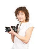 Young girl with camera Stock Photo