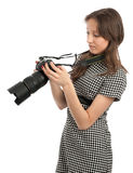 Young girl with the camera Stock Images