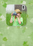 Young girl with camera in framed photo Stock Photography