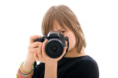 The young girl with the camera isolated Royalty Free Stock Photos