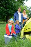 Young girl camping royalty free stock photo