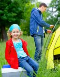Young girl camping Royalty Free Stock Images