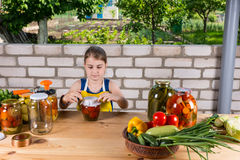Young Girl Canning Preserves of Fresh Vegetables Royalty Free Stock Photos