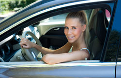Young girl in car Royalty Free Stock Photos