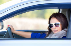 Young girl in a car Royalty Free Stock Images