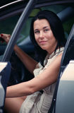 Young girl in car royalty free stock image