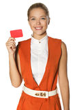 Young girl with card Stock Photography