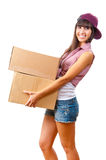 Young girl with cardboard boxes Royalty Free Stock Image