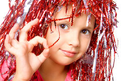Young girl with carnival wig Royalty Free Stock Photos